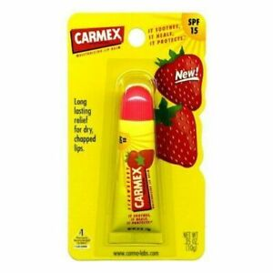 Carmex Strawberry Lip Balm SPF 15 Strawberry Tube .35oz (10g)