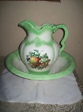 Vintage Green & White Large Wash Basin Bowl & Pitcher Fruit