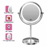 Gospire 10x Magnified Lighted Makeup Mirror Double Sided Round Magnifying Mirror