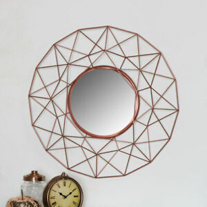 Large geometric copper metal wire frame round mirror retro industrial home decor
