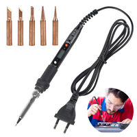 6 IN 1 80W LCD Digital Adjustable Temperature Electric Soldering Iron Tips Kit
