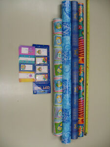 Lot Of 4 Partially Used Hanukkah Gift Wrap Rolls+Gift Tags