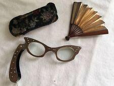 Vintage Cat Eye Rhinestone Opera Glasses With Case & Fan