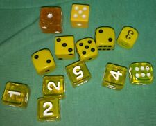 13 yellow square 16mm d6 dice