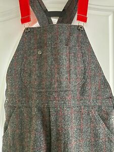 Woolrich bib overalls, Malone Style, Size Med., Red/Grey pattern, 27 inch inseam