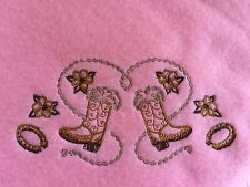 Handmade Personalized 30x30 inches, Cream,Embroidery Fleece Baby Blanket Western
