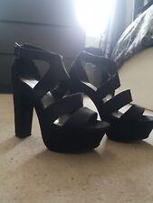Woman's Black Chunky Heel Platforms