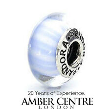 Genuine Pandora Charm BLUE  CANDY STRIPES Murano Glass - 790684 RRP£45!!!