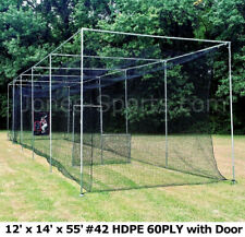 Batting Cage Net 12' x 14' x 55' #42 Hdpe (60Ply) with Door Heavy Duty Baseball