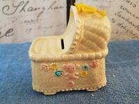 Vintage NAPCOWARE Ceramic Yellow Bassinet Cradle Bank - Japan   (9978)