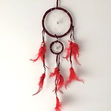 NEW DARK RED FEATHER DREAM CATCHER NATIVE AMERICAN HANGING MOBILE
