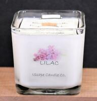 IScape Handmade Scented *Lilac* 11 Oz. Square Jar Wood Wick Soy Candle