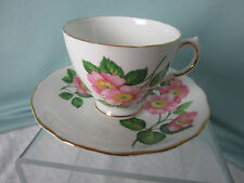 Royal Vale Tea Cup and Saucer C&S  Bone China Pink Roses Green Leaves  England