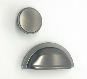 Pewter Kitchen Cup Handle and Cupboard Knob Oxford FTD Range Carlisle Brass