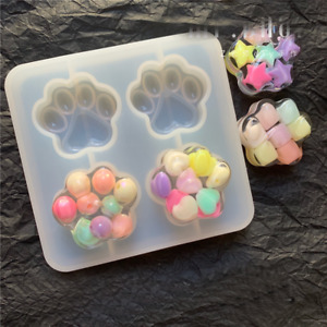 Cat Paw Silicone Mold Tag DIY Making Jewelry Handmade UV Resin Epoxy Mould Craft