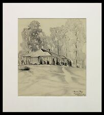 """Frederick Polley """"Sunnyside, Marion County, Indiana"""" 14.5""""x13"""" drawing, signed"""