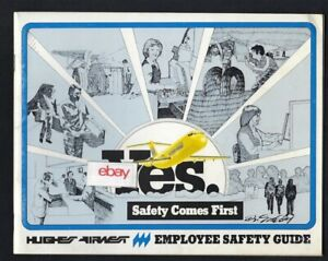 """HUGHES AIRWEST """"YES"""" SAFETY COME FIRST BROCHURE 1978 RHINEHART & CREASON ART"""