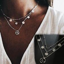 Fashion Chocker Multi-layer Chain Wave Necklace Coin Pendant Bib Btatement