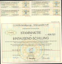 Contina Beteiligungs AG 1 Stammaktie zu 1000 Schilling aus 1991