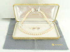 Genuine 8mm Pearl K14 White Gold Earrings & Silver Clasp Necklace SET with Box
