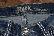 Wrangler Rock 47 Thick Stitch Stretch Dist Wash Women's Capri Jeans Size 1/2 W27
