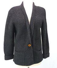 L.L. Bean VTG 100% Shetland Wool Cowl Ribbed Cardigan Sweater Black pockets M
