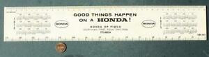 1974-75 Piqua Ohio Honda Motor Cars & Motorcycles dealership calendar ruler!
