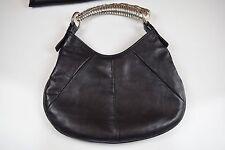 Vintage Authentic Yves Saint Laurent Leather Mombasa Women Bag Metal Horn Handle