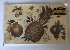 Vintage Meyercord Gold Kitschy Fruit Decal Art Transfers Original Packaging