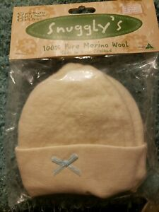 Snuggly's 100% Pure  MERINO Wool Baby Hat Cap Blue Bow New Zealand New with tag
