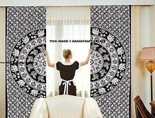 Urban Elephant Mandala Curtains Set Decorative Indian Cotton Tab Top Curtains