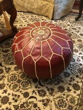 Red and Gold Moroccan Pouf-Genuine Handmade Goat Skin Leather-Unstuffed