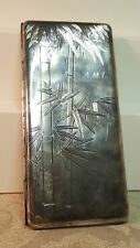 """Vintage 950 sterling silver bamboo engraved 208g. Card case 3.3"""" x 6.7"""""""