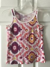 Old Navy Cami Cotton Tank Top White Pink Yellow Ribbed Stretch Size Medium