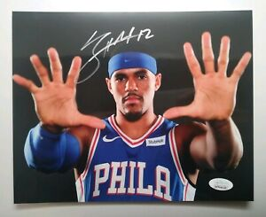 Tobias Harris Autograph Signed 76ers 8x10 Hands in your Face Photo JSA COA