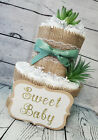 3 Tier Diaper Cake and sets - Succulent theme Eucalyptus Green with Burlap