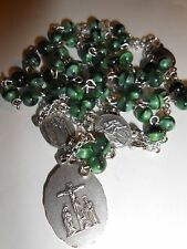6mm green marble glass bead - Chaplet of the Seven Sorrows of Mary