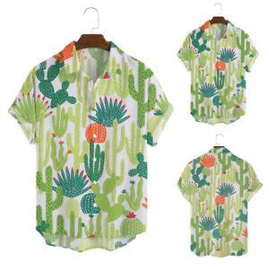 Mens Summer Holiday Shirt Plant Printed Short Sleeve Loose Casual T-shirt Blouse