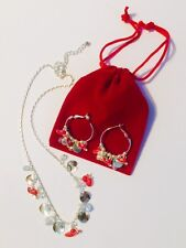 Red Hat Society Jewelry Sets Silver Plated Necklace Earrings Free Shipping Gift