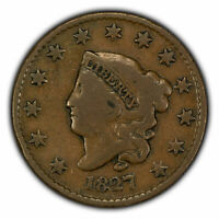 1827 1c Coronet Head Large Cent - Tough Date - SKU-X1550