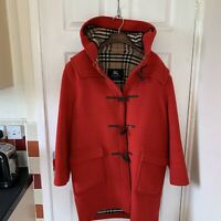 Women's BURBERRY Duffle Coat Jacket Red Size UK 12-14 Nova Check Wool