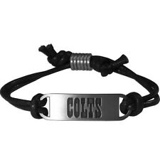 Indianapolis Colts Pewter Unisex Silver Black Adjustable Fashion Bracelet