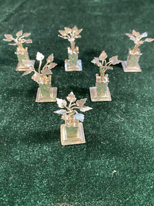 👍6 X 19TH CENTURY CHINA CHINESE STERLING SILVER FLOWERS MENU HOLDERS  纯银宴会菜单夹