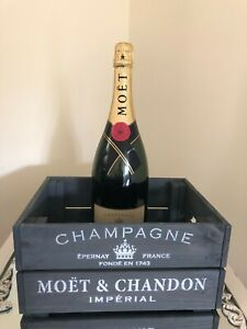 Grey Weathered Moet Design Wooden Box Crate Gift Home Bar Wedding Man Cave