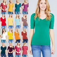 SMALL V-NECK COTTON TEE Elbow 3/4 Cuff Sleeve JUNIOR FITTED TOP /Women Size 0-2