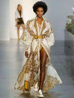 Retro Runway Palace Printed Dress Lantern Sleeves Big Hum with belts Dress 0 1 2