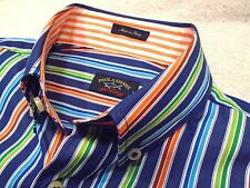 Paul & Shark 100% Cotton Blue Stripe Sport Shirt NWT Small $235 Made in Italy