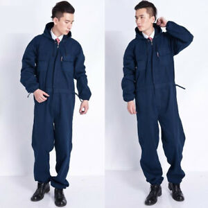 Men Mechanic Coveralls Overalls Denim Jeans Workwear Boiler Suit Decorator Navy