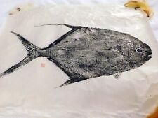 "SALT WATER ACTUAL PERMIT IMPRINT ON RICE PAPER IN Black Ink Image 24 "" X 18 """
