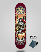 Wood light Monopatín Skate Skateboard Deck tabla Silver tape burgundy